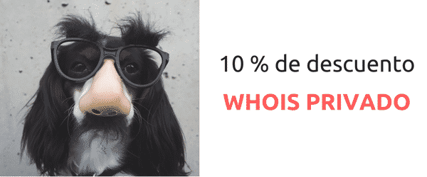 10% de descuento en servicio Whois Privado