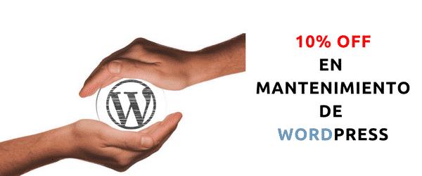 10% de descuento en mantenimiento de WordPress
