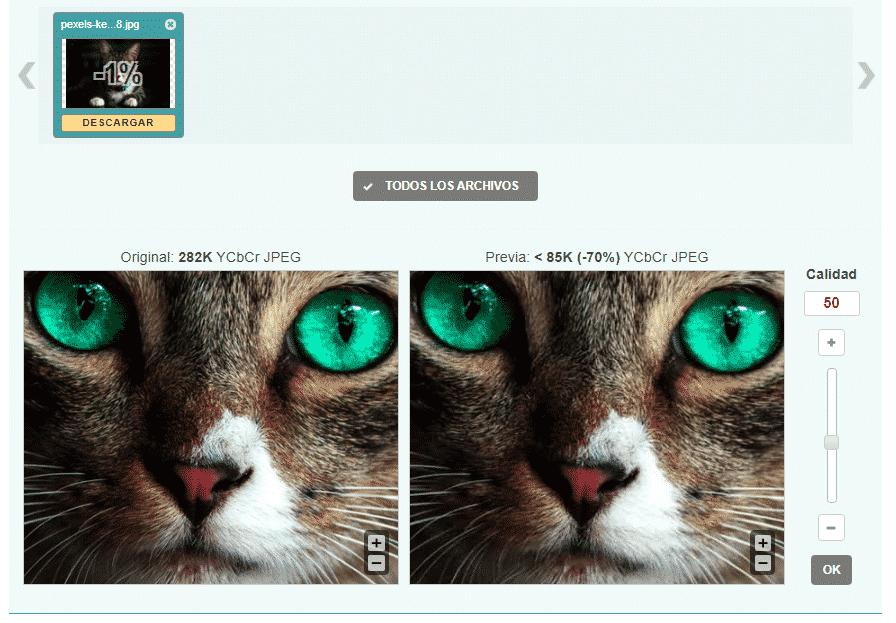 compresion de imagen a 50, usando optimizilla