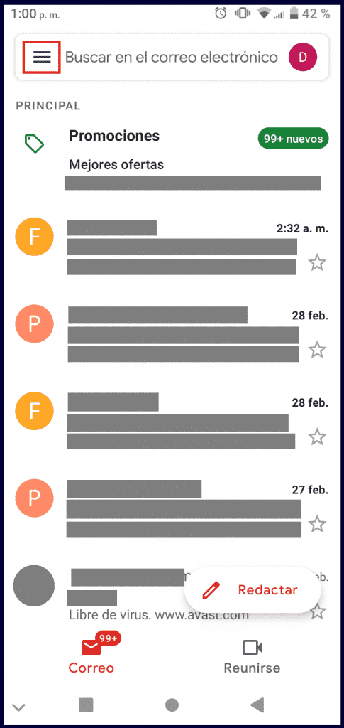 Menu de Gmail en dispositivo android
