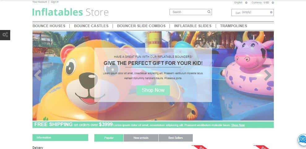 Inflatables Store Template productos infantiles