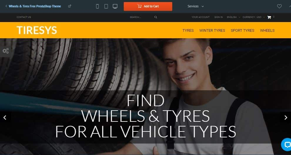 Wheels and Tires, Plantilla prestashop